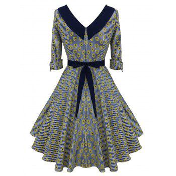 Floral Striped Belted Bowknot Dress