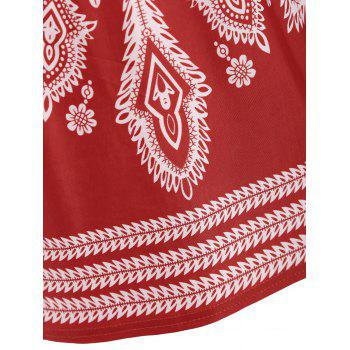 Beaded Tribal Print Tunic T-shirt - RED ONE SIZE