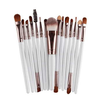 Practical Multifunction 15 Pcs Plastic Handle Nylon Makeup Brushes Set -  WHITE/BROWN