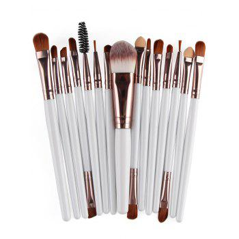 Practical Multifunction 15 Pcs Plastic Handle Nylon Makeup Brushes Set - WHITE AND BROWN WHITE/BROWN
