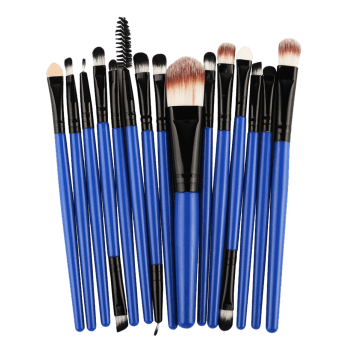 Practical Multifunction 15 Pcs Plastic Handle Nylon Makeup Brushes Set -  BLACK/BLUE