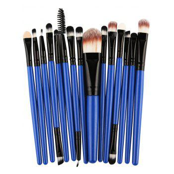 Practical Multifunction 15 Pcs Plastic Handle Nylon Makeup Brushes Set - BLACK AND BLUE BLACK/BLUE