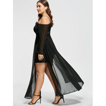 Plus Size Open Shoulder Flowing Evening Dress - BLACK BLACK