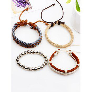 Straw Woven Rope Beads Friendship Bracelets Set - BROWN