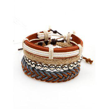 Straw Woven Rope Beads Friendship Bracelets Set - BROWN BROWN