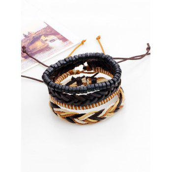 Faux Leather Beaded Woven Rope Bracelets - BROWN BROWN