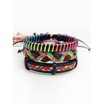 Layered Multicolor Artificial Leather Woven Bracelets - COLORFUL COLORFUL