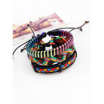 Bracelets tissés en cuir artificiel multicolore multicouches - coloré