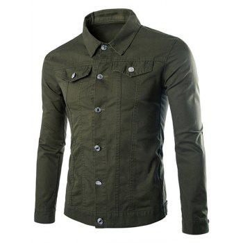 Single Breasted Front Pockets Cargo Jacket