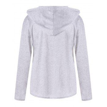 Drop Shoulder Lace Up Hoodie - L L