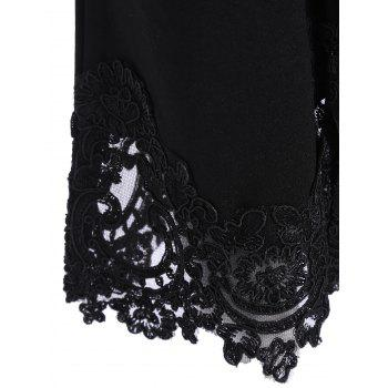 Lace Hem Ninth Length Flare Pants - BLACK BLACK