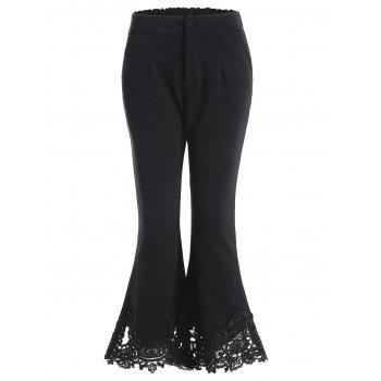 Lace Hem Ninth Length Flare Pants