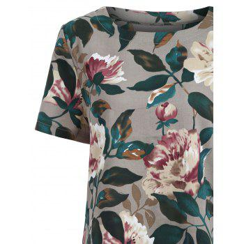 Floral Print Pocket Shift Tunic T-shirt Dress - M M