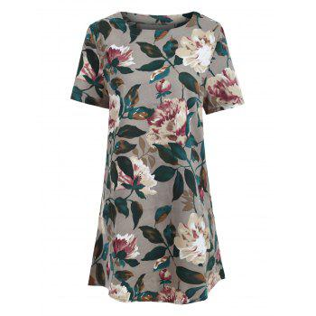 Floral Print Pocket Shift Tunic T-shirt Dress - COLORMIX M