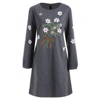 Plus Size Floral Applique Long Sleeve Dress