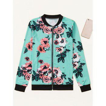 Floral Zippered Jacket - GREEN GREEN
