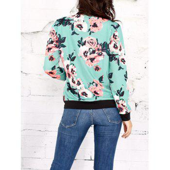 Floral Zippered Jacket - GREEN L