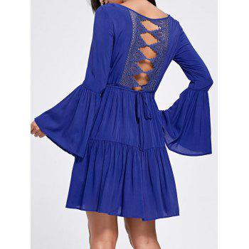 Flare Sleeve Crochet Panel Flounce Dress - DEEP BLUE 2XL