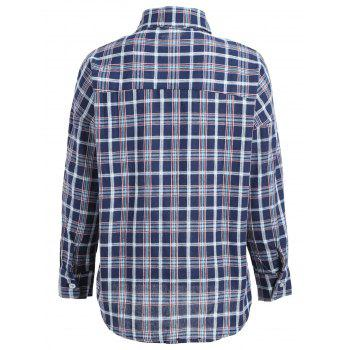 Long Sleeve Plaid Pocket Shirt - DEEP BLUE XL