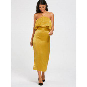High Slit Long Sleeveless Bodycon Popover Dress - GINGER XL