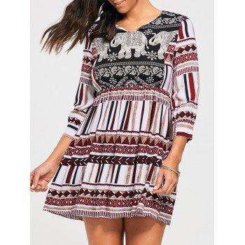 Bohemia Elephant Print Empire Waisted Tunic Dress
