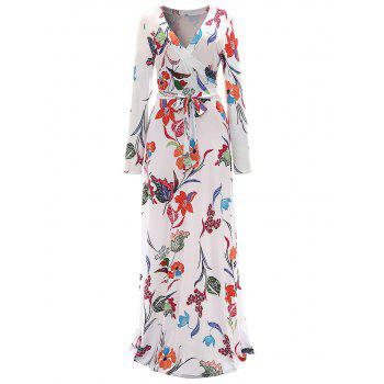 Floral Surplice Maxi Formal Dress