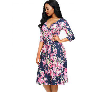 Midi Wrap Floral Print Dress - XL XL