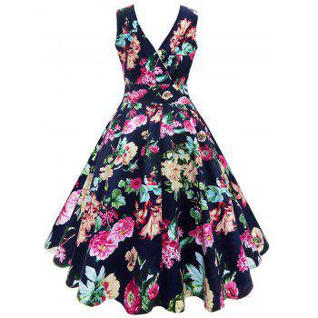 Midi V Neck Surplice Floral Vintage Dress - FLORAL 2XL