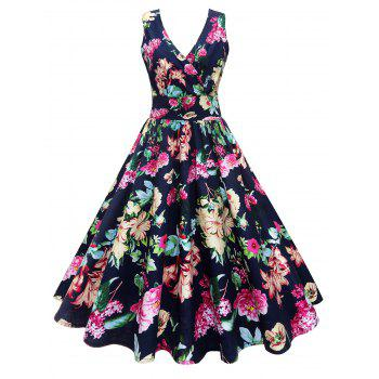 Midi V Neck Surplice Floral Vintage Dress