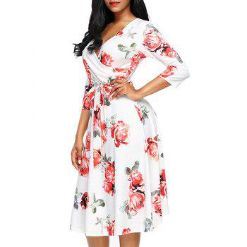 Flower Print Midi Wrap Dress - RED L