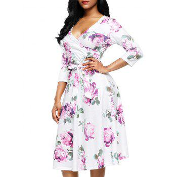 Flower Print Midi Wrap Dress - PURPLE S