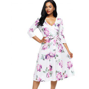 Flower Print Midi Wrap Dress - L L