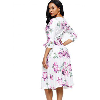 Flower Print Midi Wrap Dress - PURPLE PURPLE