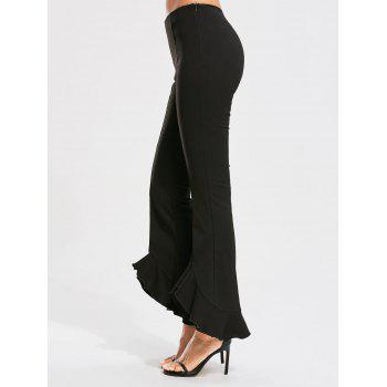 Fitted Flared Pants with Ruffles - L L