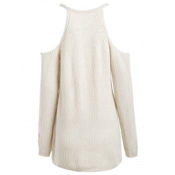 Cold Shoulder V Neck Long Sleeve Sweater - OFF WHITE OFF WHITE