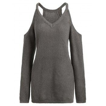 Cold Shoulder V Neck Long Sleeve Sweater - GREYISH BROWN GREYISH BROWN