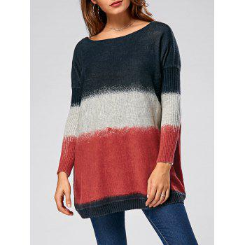 Drop Shoulder Ribbed Ombre Pullover Sweater