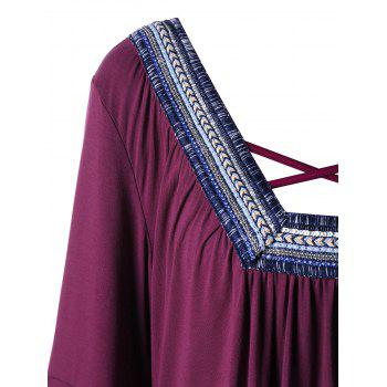 Plus Size Tribal Chevron Handkerchief Criss Corss T-shirt - PURPLISH RED 3XL