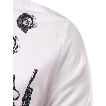 Long Sleeve 3D Symmetrical Warrior Print Shirt - WHITE WHITE