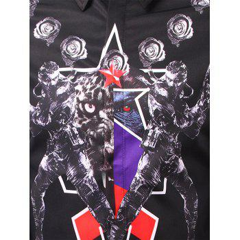 Long Sleeve 3D Symmetrical Warrior Print Shirt - BLACK BLACK
