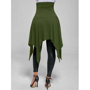 High Waist Lace Up Front Slit Asymmetrical Skirt - ARMY GREEN L