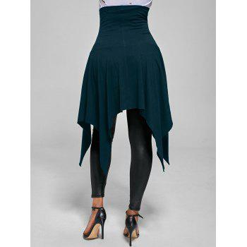 High Waist Lace Up Front Slit Asymmetrical Skirt - BLUE GREEN L