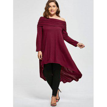 Plus Size High Low Skew Neck T-shirt - WINE RED XL