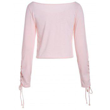 Long Sleeve Cropped Top with Lace Up - LIGHT PINK XL