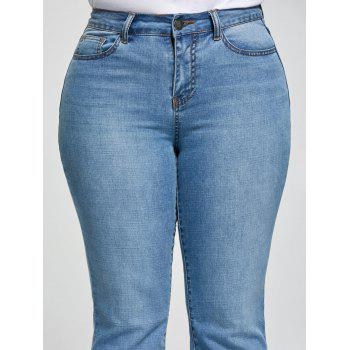 Plus Size Five Pockets Flare Jeans - DENIM BLUE XL