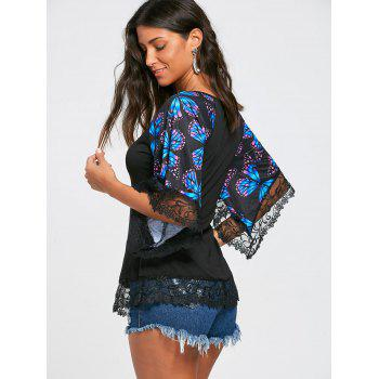Butterfly Raglan Sleeve T-shirt with Lace Trim - BLUE S
