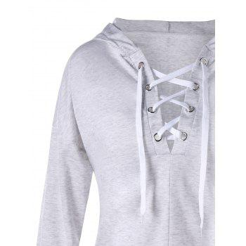 Drop Shoulder Lace Up Hoodie - 2XL 2XL