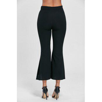 High Waisted Scalloped Flare Pants - BLACK BLACK