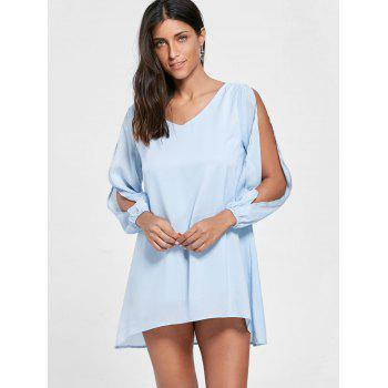 Split Sleeve V Neck Tunic Dress - AZURE AZURE
