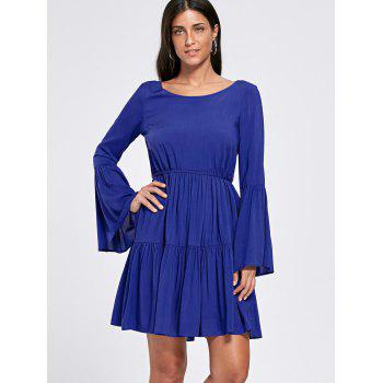 Flare Sleeve Crochet Panel Flounce Dress - DEEP BLUE DEEP BLUE